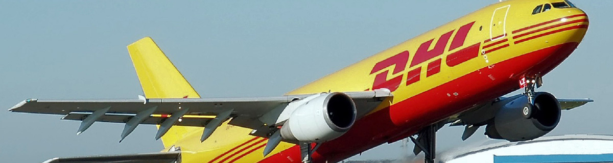 DHL cargo plane taking off.