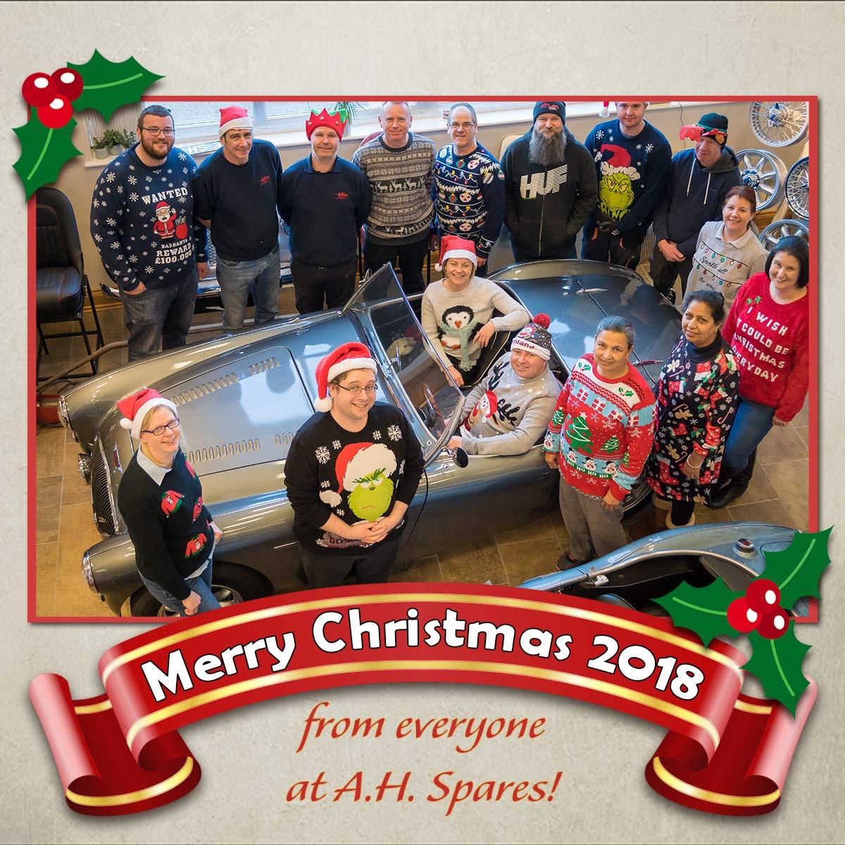 A.H. Spares staff Christmas group photo 2018