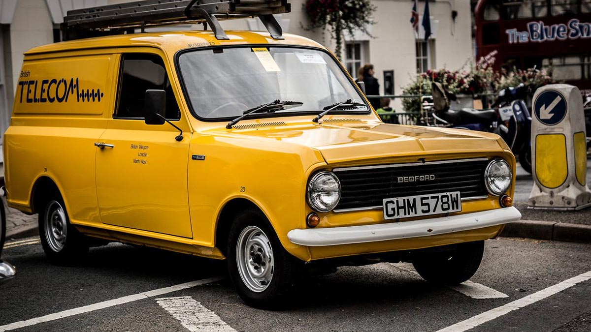Yellow Bedford, BT Van. Photo by Ashley Foster Photography.