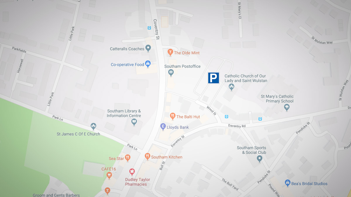 Google map of Southam town centre and parking.