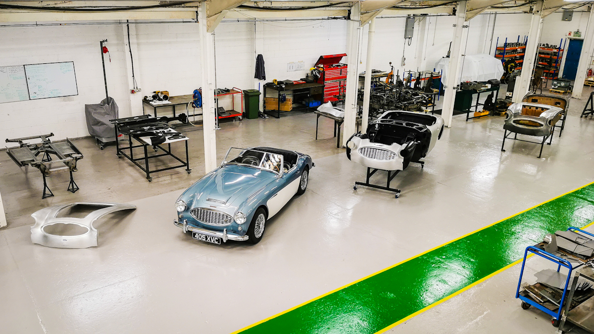 Austin Healey line up. Complete front shroud. Complete Healey. Complete outer body assembly. Austin Healey shroud tooling.