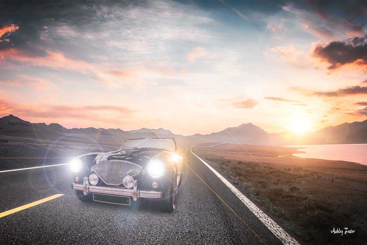 Austin Healey at Sunset - by Ashley Foster