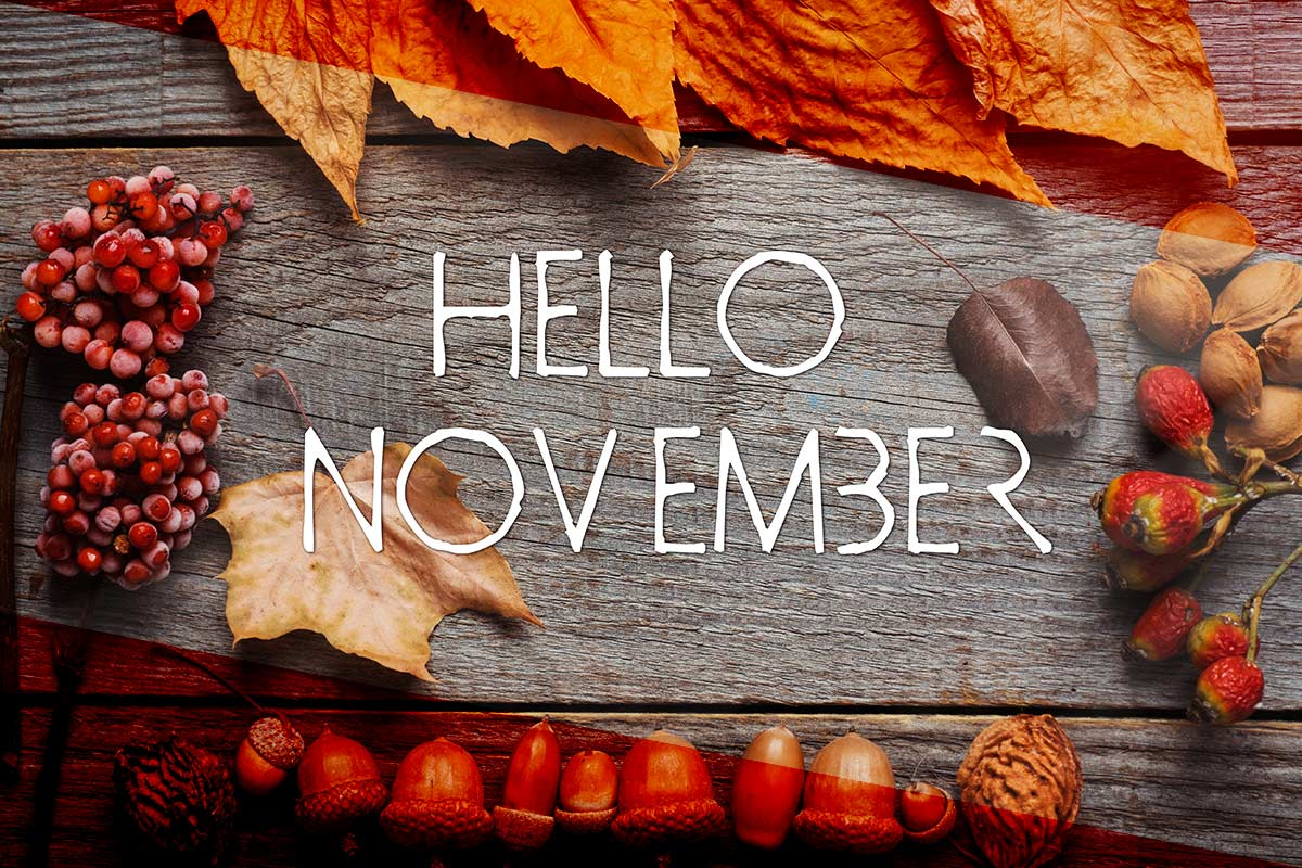 Autumn theme rustic table top with Hello November