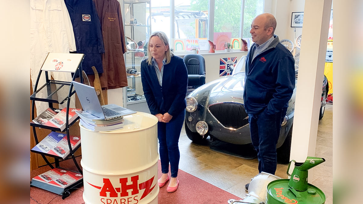 A H Spares Directors Rebecca Kemsley and Jonathan Hill speaking with Australian Austin Healey club members over the internet.