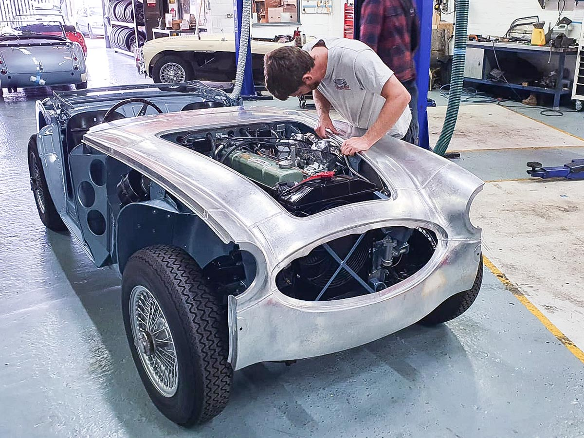 Austin Healey outer body shell being fitted at JME Healeys
