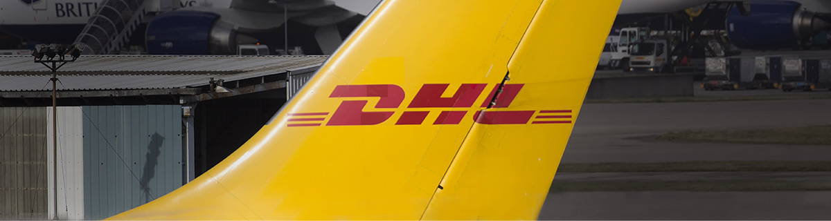 DHL painted on jumbo jet fin