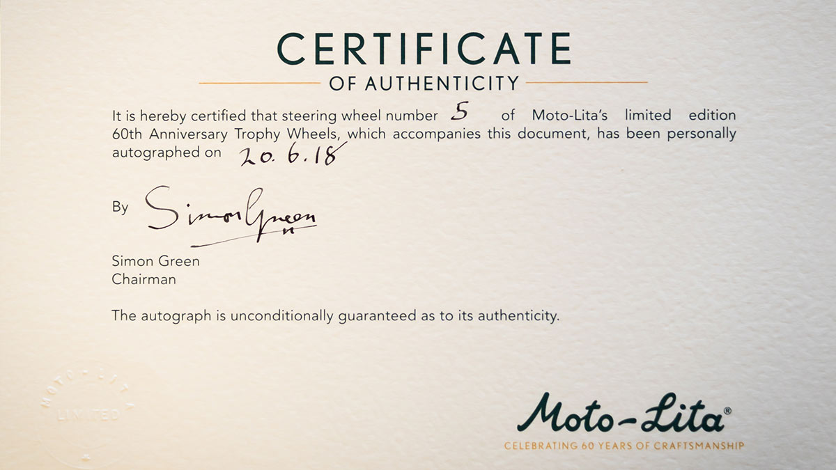 Simon Green's signature certified by Moto-Lita.