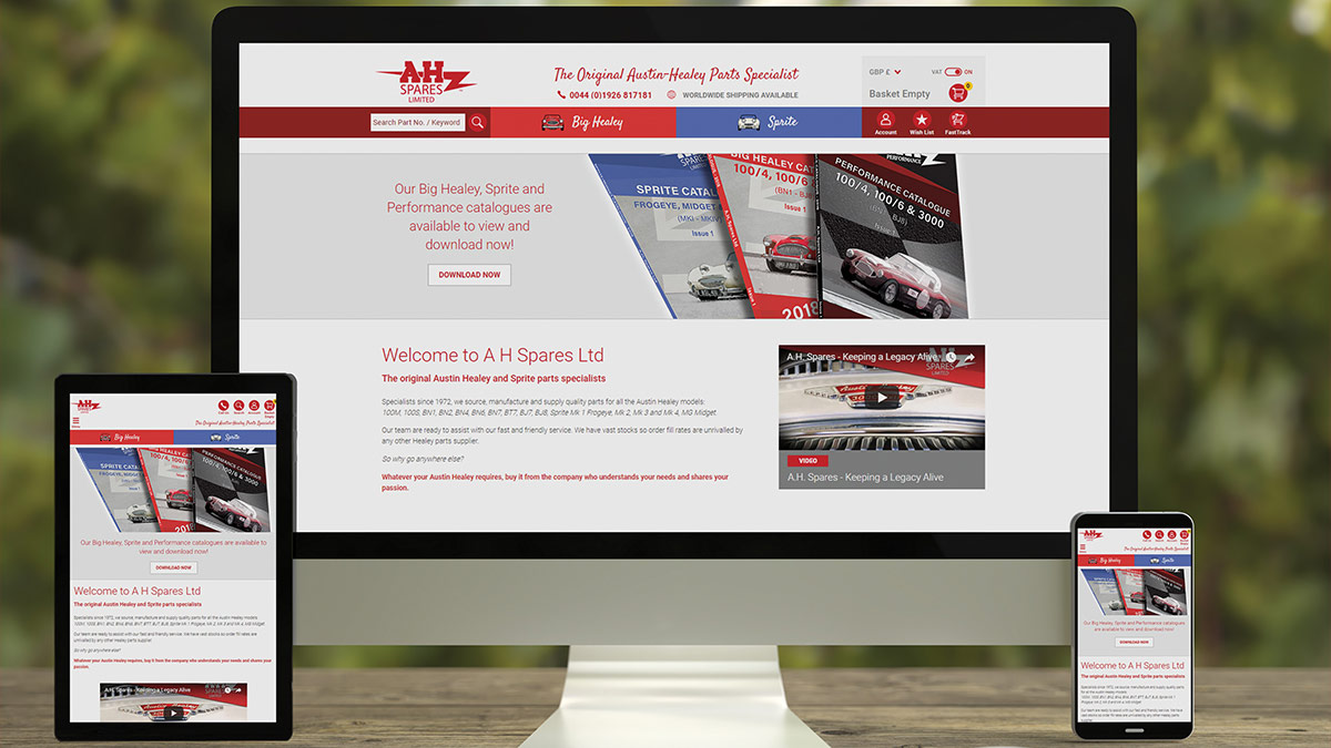New A.H. Spares website displayed on desktop, tablet and mobile.