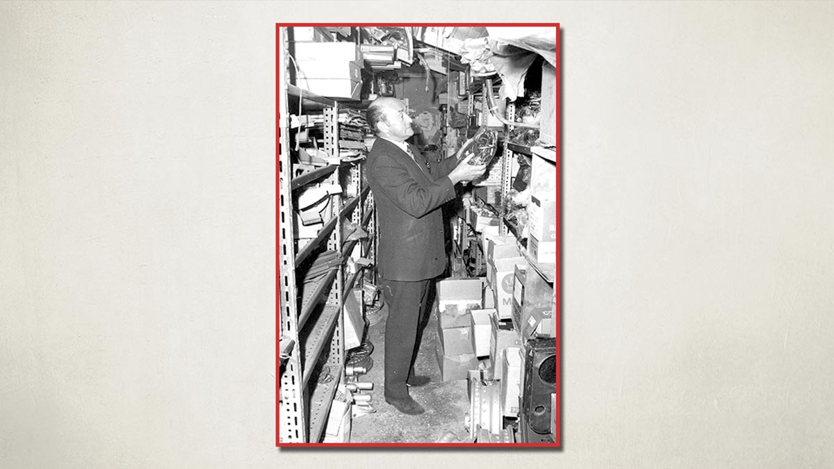 Photo of Fred Draper in the stores at A H Spares 1972.
