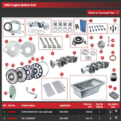 A picture of the AH Performance Spares products menu
