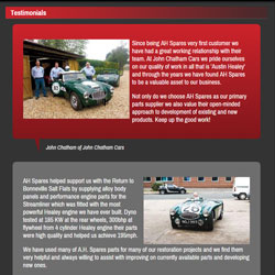 A picture of the AH Performance Spares Testimonials page