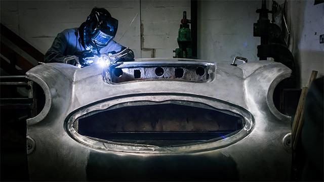 Nigel welding an aluminium Austin-Healey 3000 front body shroud