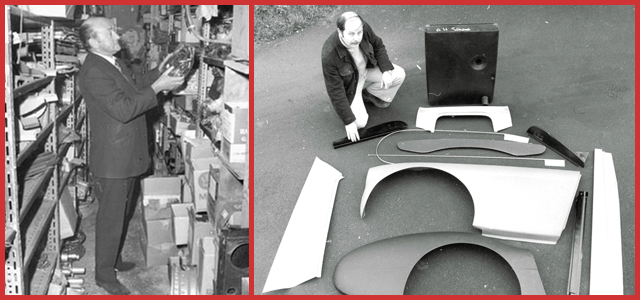 Black and white image of Fred Draper in the stores in the left frame and Bob Hill posing with various Austin-Healey body panels and Austin-Healey fuel tank.