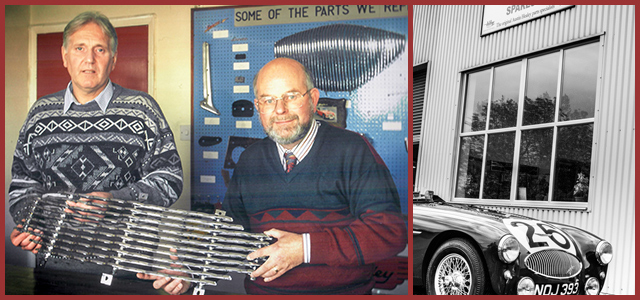 Image of Gordon Barton and Bob Hill holding an Austin-Healey grille at A.H. Spares in 1993, and a black and white image of the Austin-Healey 100S N0J 393 outsite A.H. Spares.