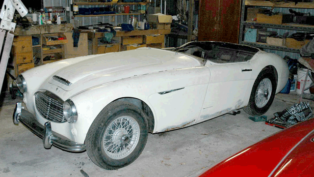 Image of Austin Healey 100/6 in a garage