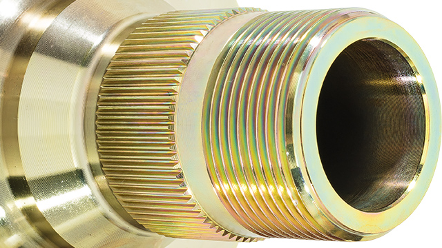 Close up image of the thread on an Austin-Healey hub extension.