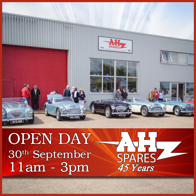 A.H. Spares Open Day on Saturday 30th September 2017. The event begins at 11am until 3pm. Bring your Healey for a chance to win £100 in gift vouchers!