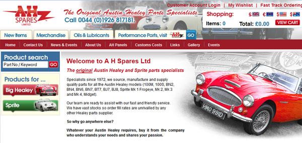 A.H. Spares website