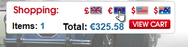 Prices available in Pounds Sterling, Euros, U.S and Australian Dollars