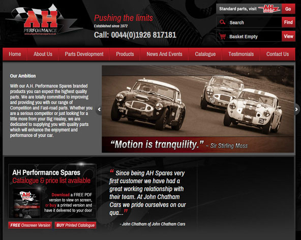 Image of AH Performance Parts website.