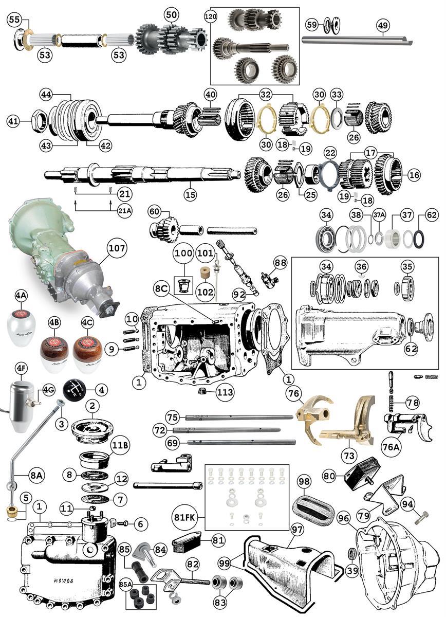 Austin Healey 4 Speed Gearbox | Side Change | BN2 to BJ8