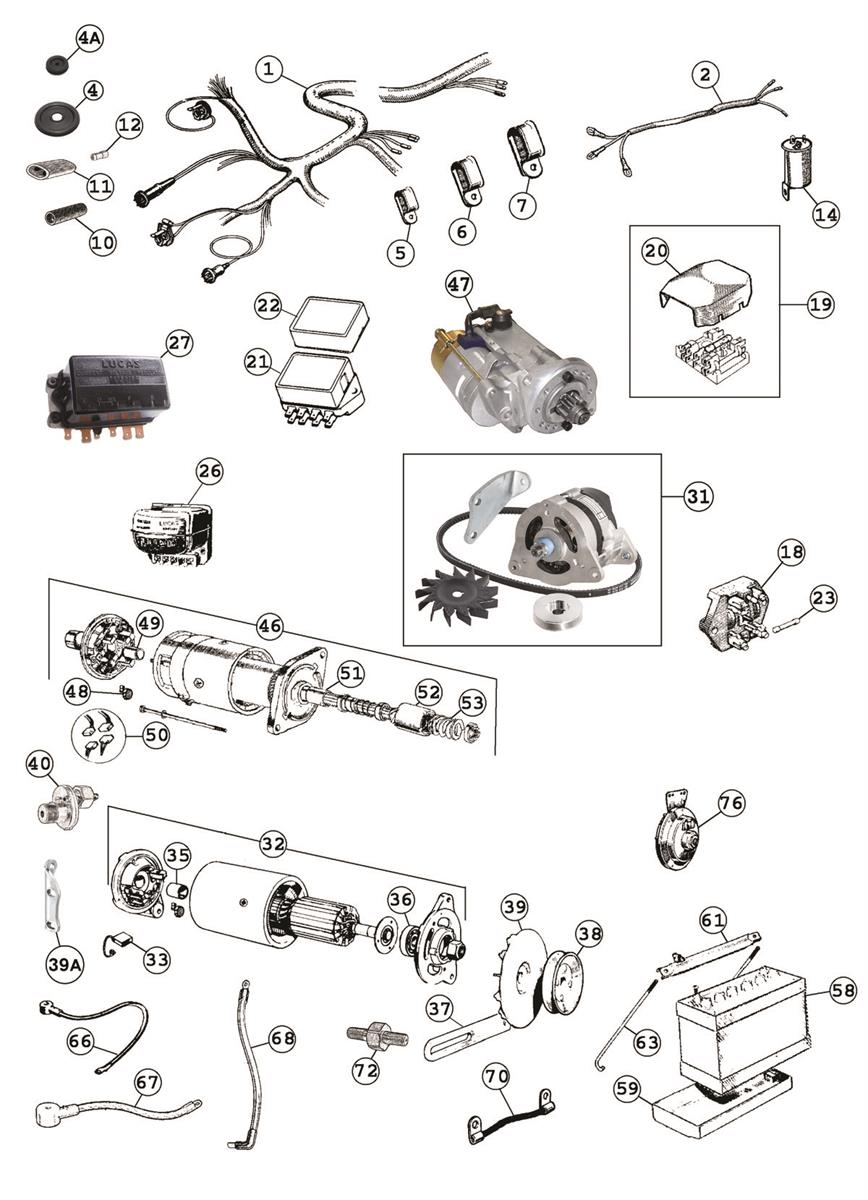 austin healey sprite electrical parts