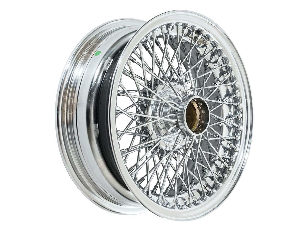 Chrome Austin Healey wire wheels