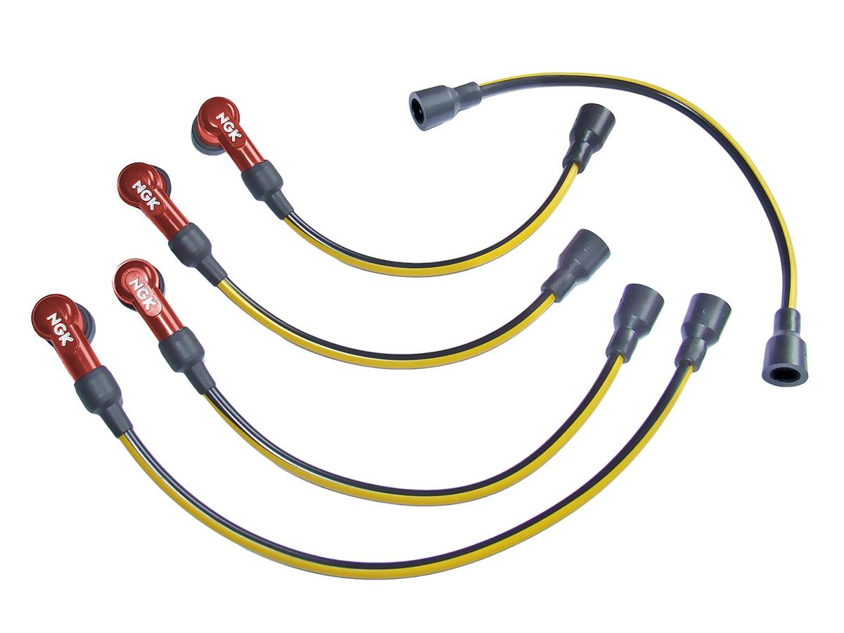 4-cylinder Austin Healey ignition lead set with NGK caps.