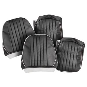 Buy SEAT COVERS-black/white-PAIR-LEATHER Online