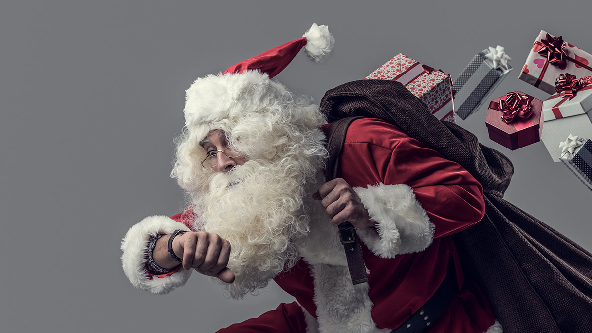 Santa Claus checking his watch.