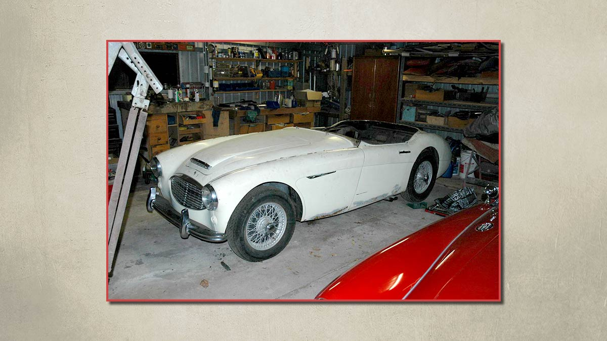 White Austin Healey 100/6 before restoration.