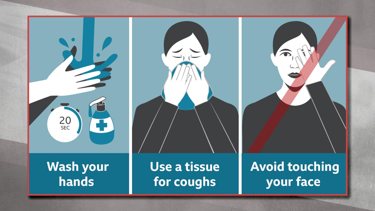 Wash your hands | Use a tissue for coughs | Avoid touching your face