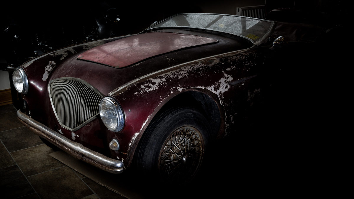 Austin Healey 100 project car before restoration at A.H. Spares.