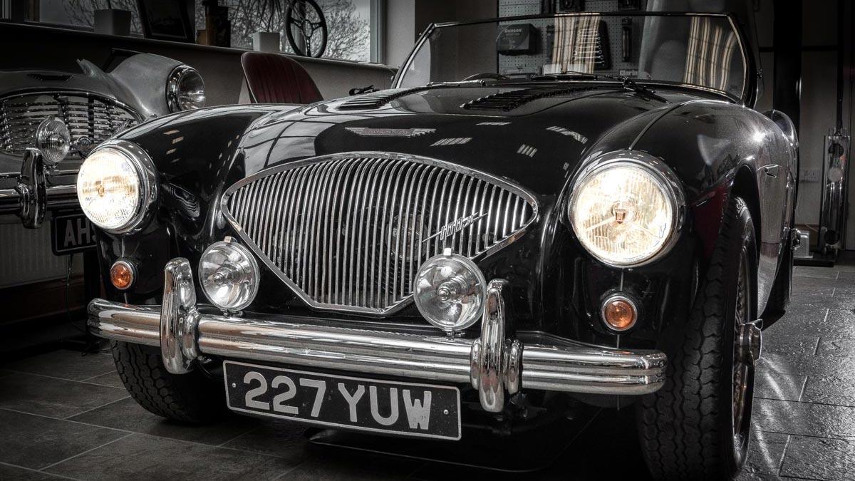 Black Austin Healey 100 at A.H. Spares Ltd.