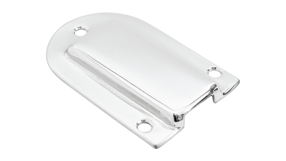 Austin Healey glove box lock cover plate.