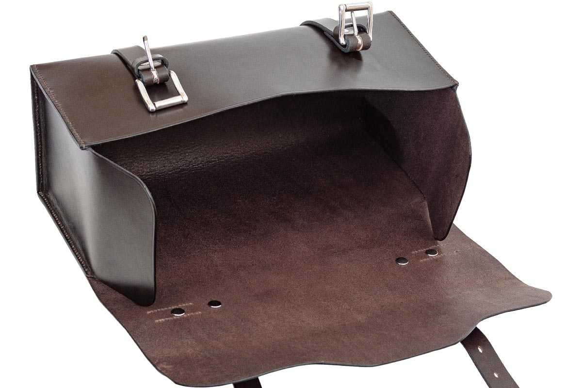Open leather satchel.