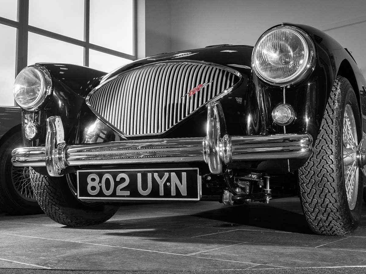 Austin Healey 100 in A.H. Spares' showroom.