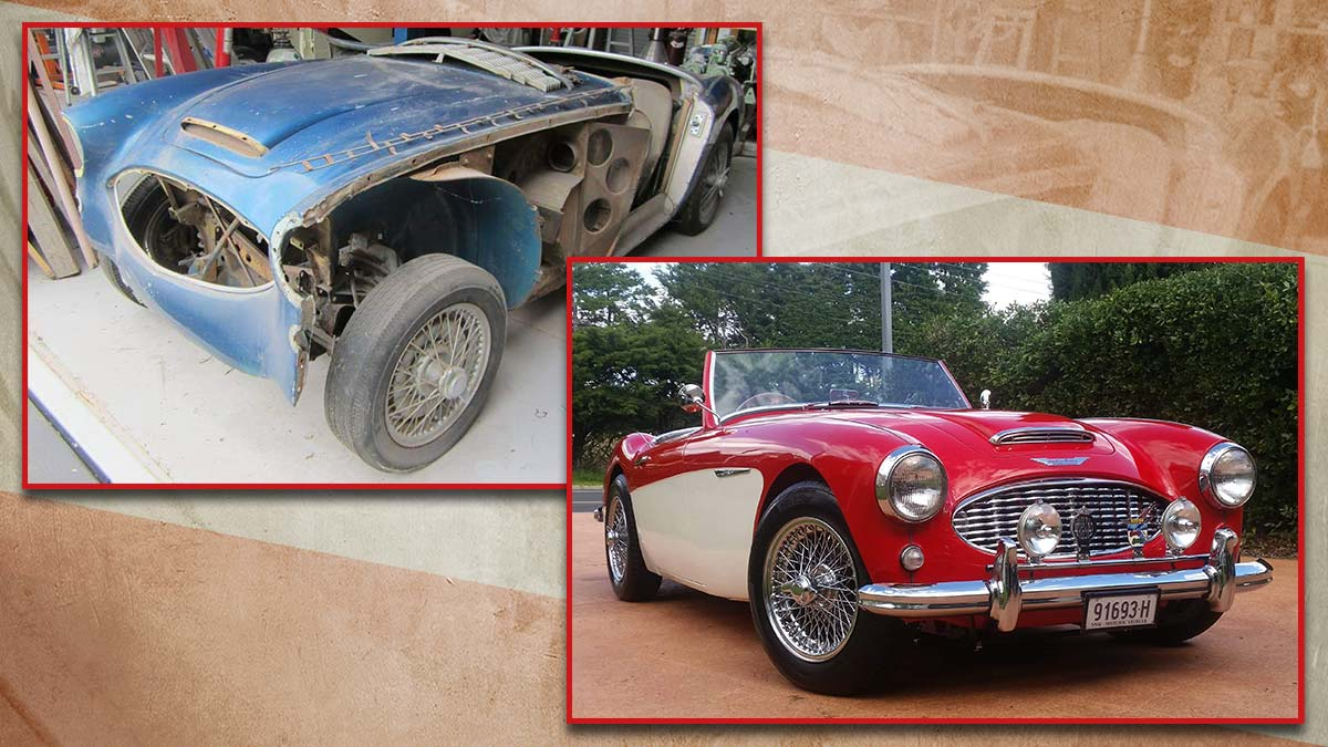 Austin Healey 100/6 before and after its restoration.
