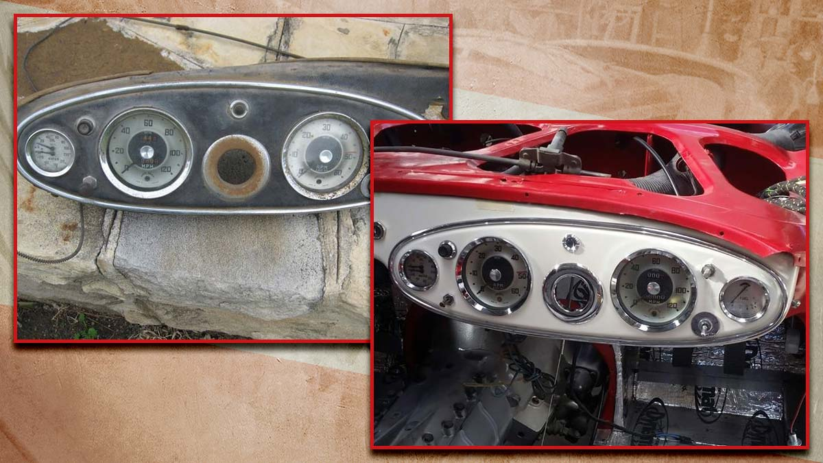 Before & after: Restored Austin Healey 100/6 guages.